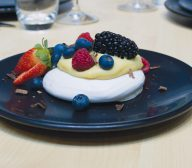 Egg-free meringue with white chocolate soy sauce cream