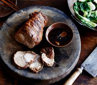Oven Braised Pork Neck with Stir Fried Asian Greens