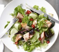 Hot Smoked Salmon Mixed Leaf Salad with Sweet Soy Dressing