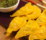 Prawn and Snow Pea Dumplings with Chilli Dipping Sauce