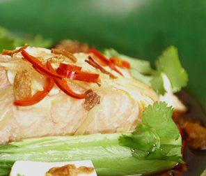 Teriyaki Salmon with Bok Choy, Tofu and Shiitake Mushrooms