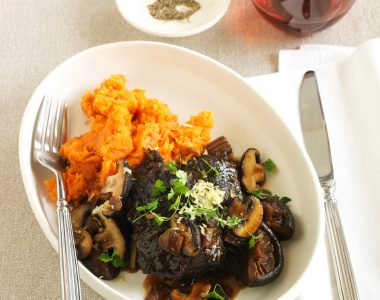 Soy-Braised Beef Cheeks with Sweet Potato Mash