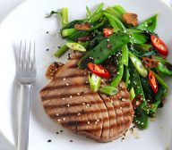 Soy Glazed Tuna with Stir Fried Greens with Garlic and Soy