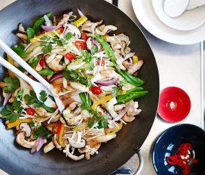 Teriyaki Chicken Stir Fry with Mixed Mushrooms and Snow Peas