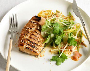Teriyaki Roast Kingfish with Cucumber and Enoki Japanese Salad