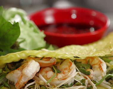 Vietnamese Pancakes with Prawns, Ginger and Soy Dipping Sauce