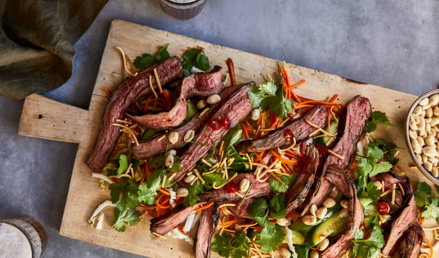 Soy Marinated Flank Steak with Crispy Asian Style Salad