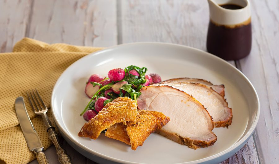 Crispy Roast Pork With Soy Crackling and Sauteed Radish and Greens With Soy Honey Butter Gravy