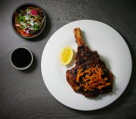 Fire Grilled Op Rib, Crispy Enoki Mushrooms and Petite Bouche Salad
