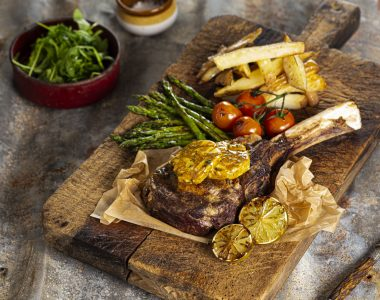 Ribeye Steak with Soy Butter, Sticky Asparagus and Hand Cut Chips