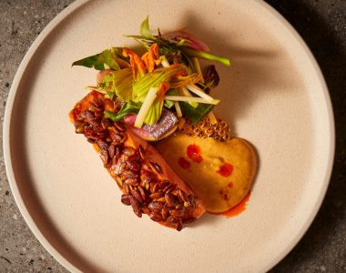 Sticky Soy & Pepita Crusted Ora King Salmon with Laksa Sauce & Asian Summer Salad
