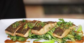 BBQ Salmon Fillet with Wok Flashed Choy Sum, Soy & Wasabi