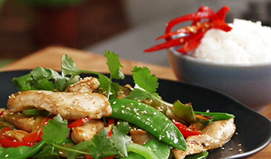 Hot Sesame Chicken Stir Fry with Sesame, Ginger and Soy