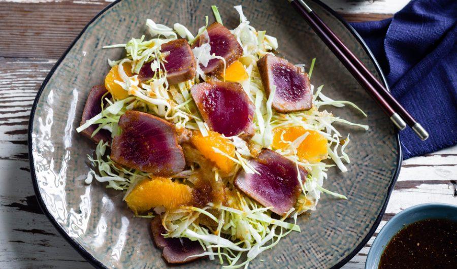 Seared Tuna, Fennel and Orange Salad with Soy Dressing