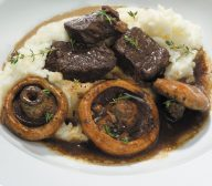 Slow Cooked Beef with Red Wine and Mushrooms