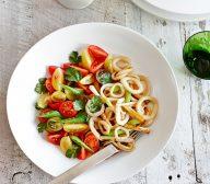 Teriyaki Calamari Stir Fry with Snow Pea Salad