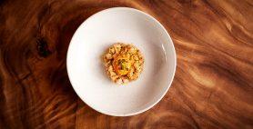 Cured kingfish tartare, Burnt chilli, sesame, Kikkoman less salt soy sauce cured egg yolk