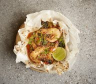 King Prawns with Kimchi butter and Lime